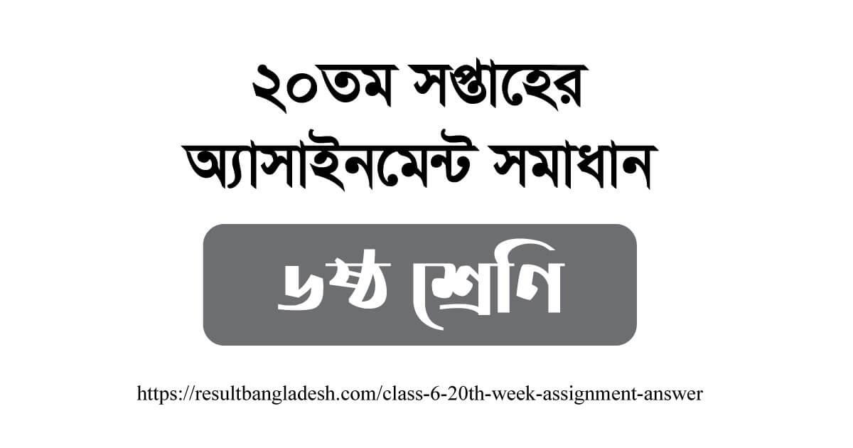 Class 6 20th week Assignment